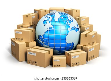 Global logistics, shipping and worldwide delivery business concept: blue Earth planet globe surrounded by heap of stacked corrugated cardboard boxes with parcel goods isolated on white background