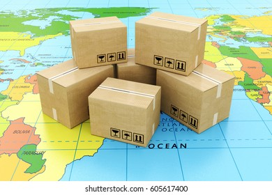 Global logistics, shipping and worldwide delivery business concept: heap of stacked corrugated cardboard boxes with parcel goods on the world map. 3d illustration