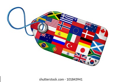 Global Markets Concept with flags from around the world on a price tag shape as a symbol and icon of the international business and financial economic system of the globe isolated on white.