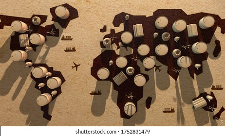 Global natural resources commodity trade with exchange of futures contracts on commodities - 3D render illustration