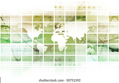 Global Network Concept as a Illustration Art