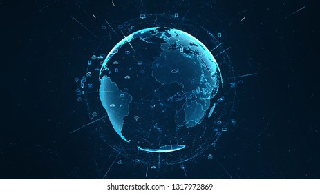 Global network concept. IoT(Internet of Things). ICT(Information Communication Network). Network of physical devices with network connectivity. 3D illustration.