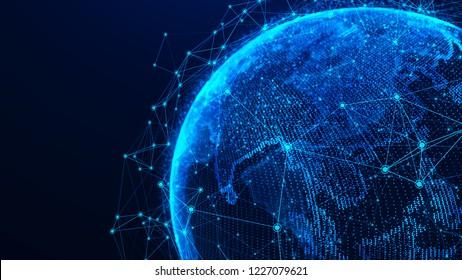 Globales Netzwerk-Konzept. Weltkarte. Globaler Netzwerkplanet Erde. 3D-Darstellung.