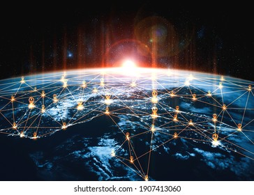Global network connection covering the earth with lines of innovative perception . Concept of 5G wireless digital connection and future in the internet of things .