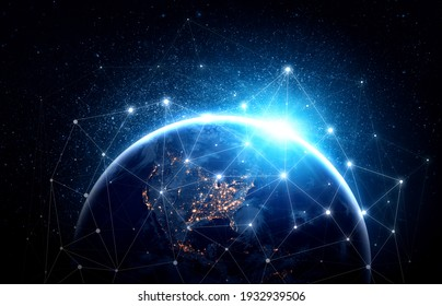 Global network connection covering the earth with lines of innovative perception . Concept of 5G wireless digital connection and future in the internet of things . 3D illustration .