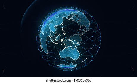 Global network network connection the world abstract 3D rendering satellites starlink. satellites create oneweb or skybridge surrounding planet conveying complexity big data flood the modern digital