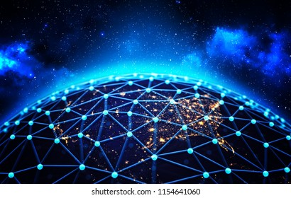 Global network connections and business communications concept, connected lines around the Earth globe on deep blue space background, 3d illustration
