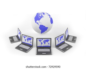 Global Network - laptop and the world