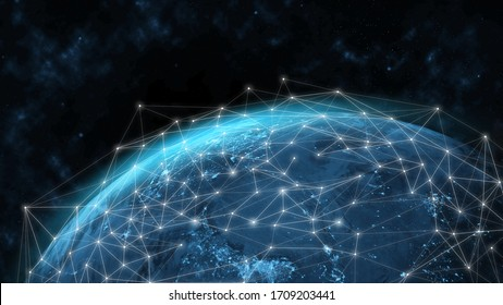 Global network modern creative telecommunication and internet connection. Concept of 5G wireless digital connection and internet of things future.