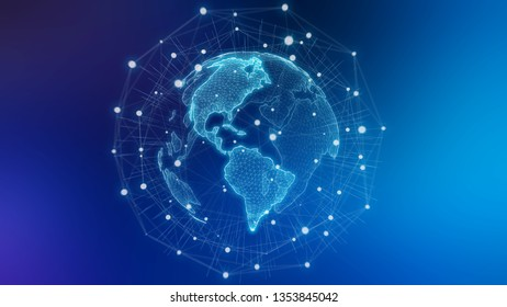 Global network on planet Earth blue background 3D rendering