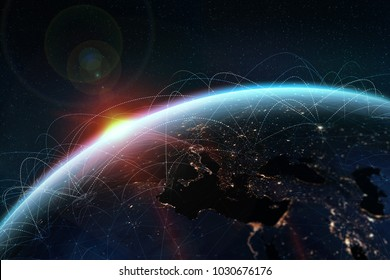 Global network. A picture from the space of the planet Earth. Globalization concept. Elements of this image are furnished by NASA