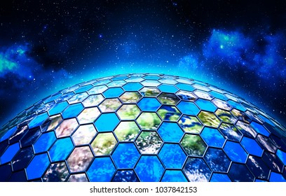 Global network security and data protection concept, grid around the Earth globe on deep blue space background, 3d illustration