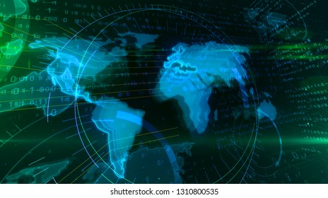Global networking concept with world map. Abstract 3D illustration of globalisation, cyberspace and digital society.