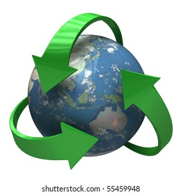 Global Recycle - 3D symbol [isolated on white background]