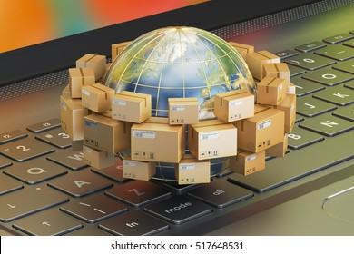 Global shipping and delivery concept, parcels cardboard boxes around the Earth on laptop. 3D rendering