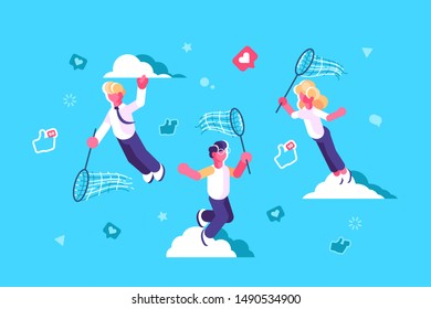 Global social media network design illustration. People with butterfly net chasing flying away likes and thumb up icons flat concept. Blue sky and white clouds on background