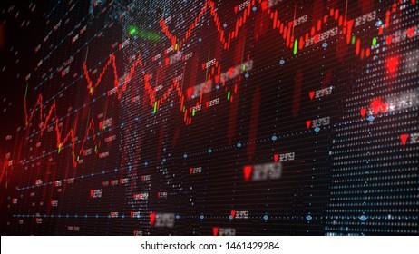 Der Abschwung auf dem globalen Aktienmarkt wird zu einer negativen Wachstumsrezession - 3D-Illustration