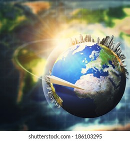 Global sustainable development concept, environmental backgrounds. NASA imagery used