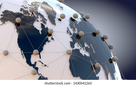 Global telecommunication and  cloud computing.3d illustration of networking and internet concept and globe wold map