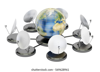 global telecommunications concept, 3D rendering isolated on white background. Elements of this image furnished by NASA