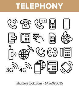Global Telephony System Linear Icons Set. Telephony, Mobile Technology Thin Line Contour Symbols Pack. Worldwide Connection Pictograms Collection. Communication Equipment Outline Illustrations