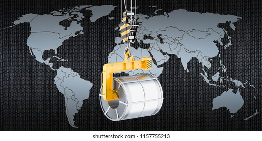 Global trade of steel coils concept, 3D rendering