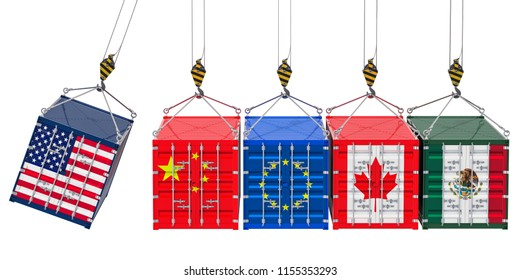 Global trade war concept, 3D rendering isolated on white background