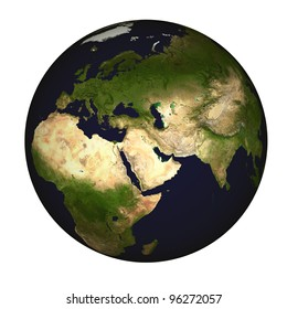 Global view on Asia, centered on the Persian Gulf