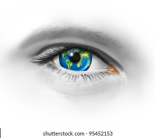 Global vision and eye on the world as a symbol of international business and strategy planning to be successful internationally by searching for new markets with an earth sphere as the iris.