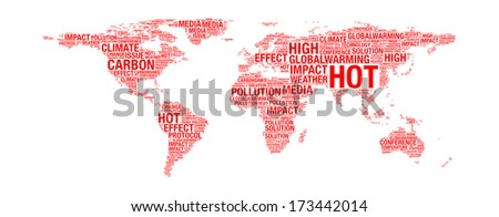 Global Warming Concept Map.Royalty Free Stock Illustration Of Global Warming Concept On World