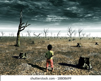 A global warming illustration with a girl facing a dead forest field.