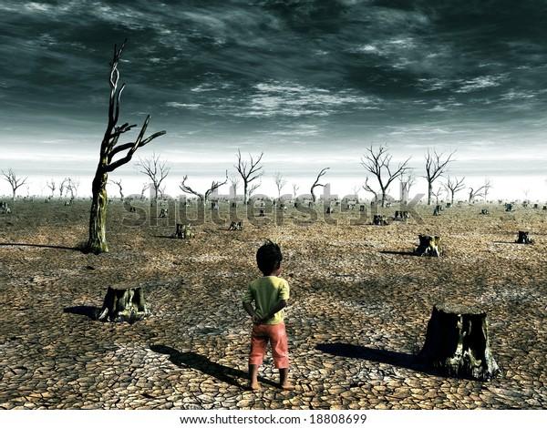 Una ilustración del calentamiento global con una chica enfrentando un campo forestal muerto.