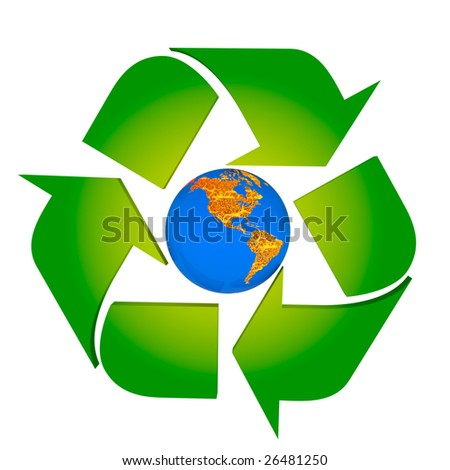 Global Warming Protect Earth Americas Conceptual Recycling Stock