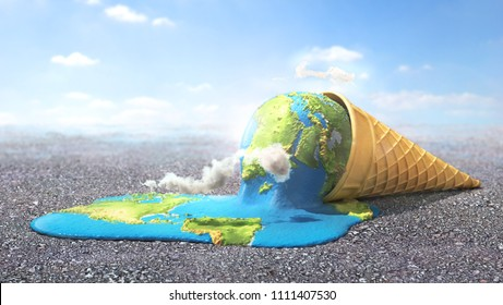 Global warning. Planet as melting ice cream under hot sun. 3d illustration