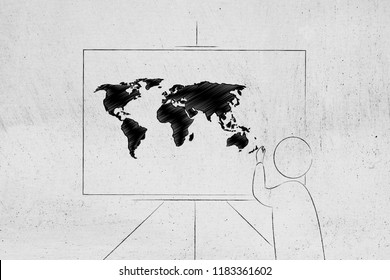 globalised world conceptual illustration: person writing on whiteboard with world map on it