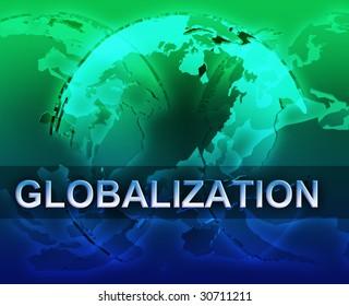 Globalization international free trade economy illustration with globes