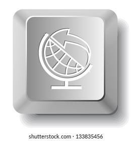 Globe and arrow. Computer key. Raster illustration.