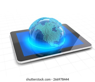 Globe with binary code emerging from a tablet, 3d render