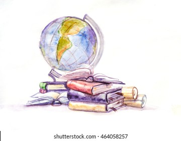 Globe and books watercolor