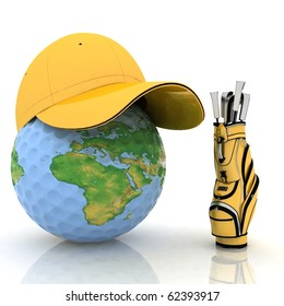 Globe in a cap and golf bag
