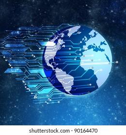 Globe with circuit board