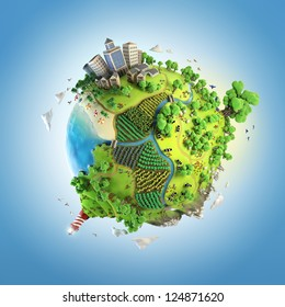 globe concept showing a green, peaceful and idyllic life style in the world in a cartoon style
