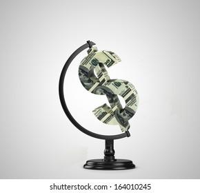 globe dollar on a white background