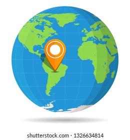 Globe Earth flat color with orange map pin on continent South America icon. Brazil, Argentina, Peru, Chile, Colombia, Venezuela. illustration