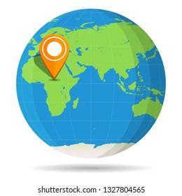 Globe Earth flat with orange map pin on continent Africa icon. Egypt, Algeria, Somalia, South Africa, Kenya, Libya, Madagascar. illustration