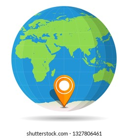 Globe Earth flat with orange map pin on continent Antarctica icon. illustration