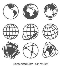 Globe earth icons set. Worldwide around globe and internet net on globe earth illustration