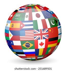globe flags illustration.
