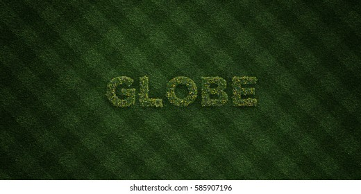 GLOBE - fresh Grass letters with flowers and dandelions - 3D rendered royalty free stock image. Can be used for online banner ads and direct mailers.