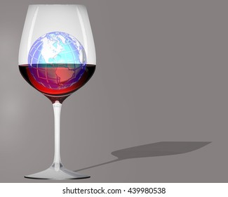 The globe in a glass of red wine